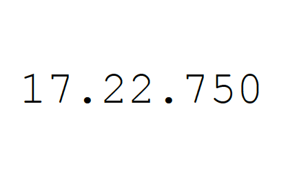 "Black text centred over white background that reads, ""17.22.750""."