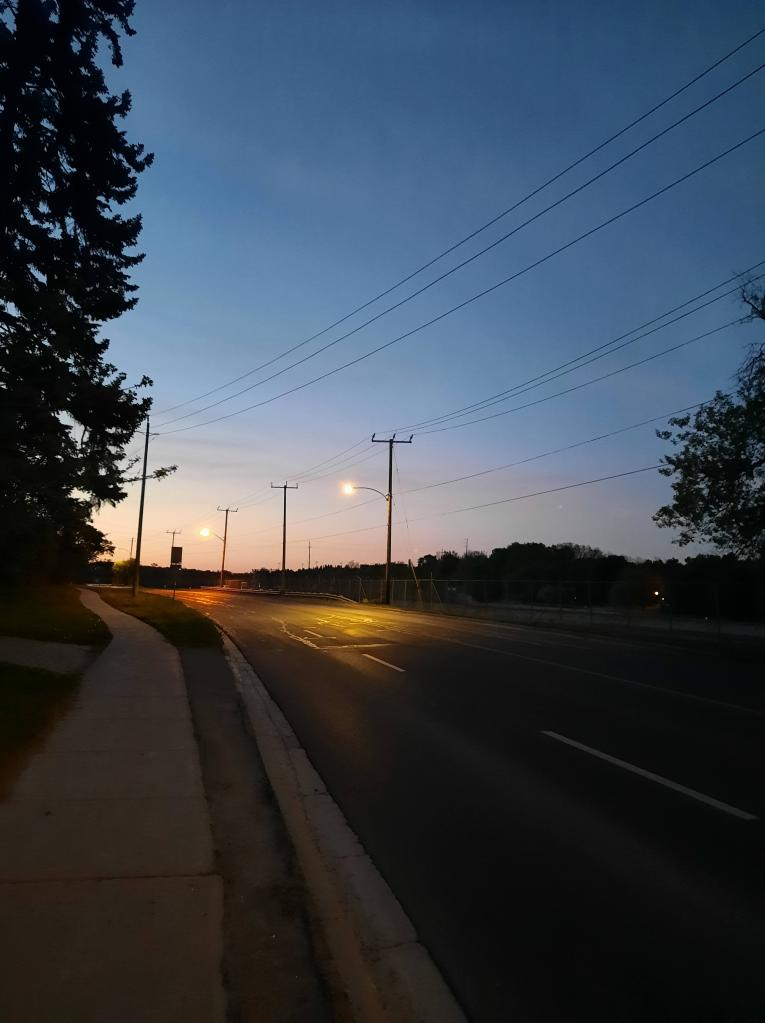 Sidewalk and road at dusk going off in the distance to the left. Two lit streetlamps visible with connecting wires. Parts of two shadowy trees visible on either side of image. Sky contains some light pink which fades into a dark blue.